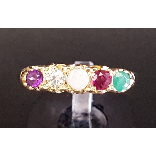 65 - GEM SET ACROSTIC 'ADORE' RING set with the following sequence of stones: amethyst, diamond, opal, ru...