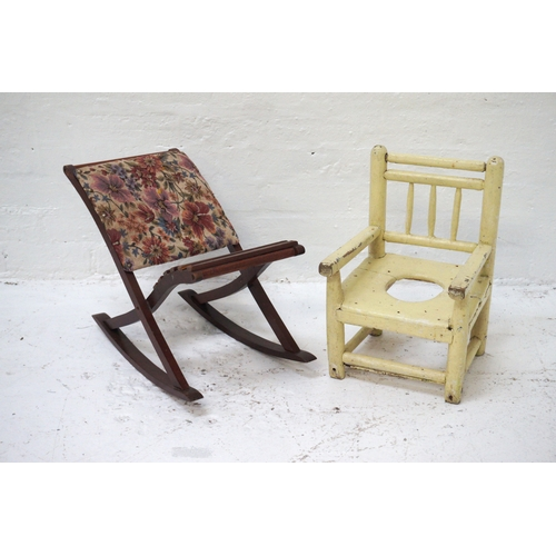 391 - MAHOGANY GOUT STOOL with floral patterned section and opposing slatted foot rest; together with a pa...