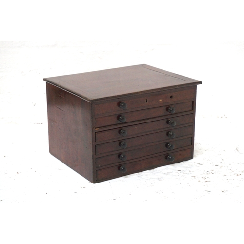 449 - MAHOGANY TABLE TOP COLLECTORS CABINET with a lift up lid above five drawers with turned handles, 26c...