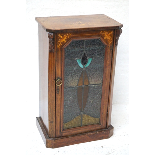 492 - VICTORIAN AND LATER WALNUT AND INLAID MUSIC CABINET now lacking it's three quarter galleried top aro...