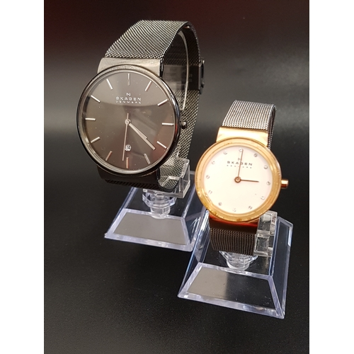 2 - LADIES AND GENTLEMEN'S SKAGEN WRISTWATCHES the ladies Freja watch with white dial and crystal five m...