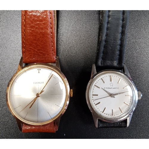34 - GENTLEMAN'S ETERNA-MATIC WRISTWATCH the white dial with baton five minute markers; together with a g...