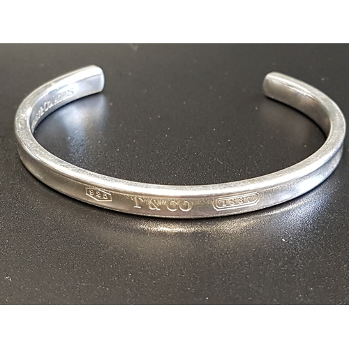 6 - TIFFANY & CO. SILVER 'TIFFANY 1837' CUFF BANGLE inscribed with 925, T&CO, and 1837 (the year Tiffany...