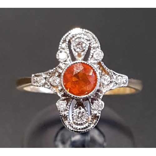 1 - ATTRACTIVE ART DECO STYLE FIRE OPAL AND DIAMOND PLAQUE RING the central round cut fire opal in multi...