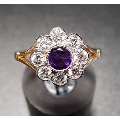 9 - AMETHYST AND DIAMOND CLUSTER RING the central amethyst in eight diamond surround, the diamonds total...