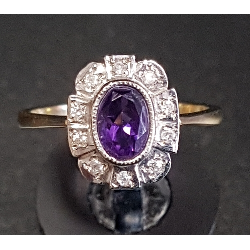 27 - AMETHYST AND DIAMOND CLUSTER RING the central oval cut amethyst in ten diamond surround, on nine car...