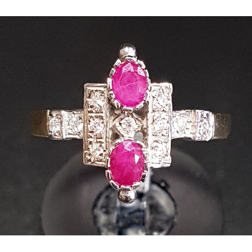 29 - ART DECO STYLE RUBY AND DIAMOND PLAQUE RING the two oval cut rubies surrounded by multi diamonds, on...