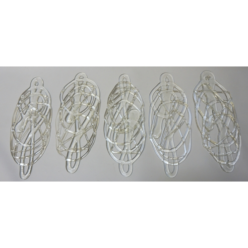35 - FIVE STUDIO GLASS WALL MOUNTING SCULPTURES of flattened, irregular and pierced form (5)...