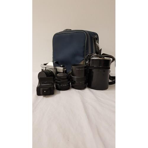 187 - PRAKTICA MTL50 35mm FILM CAMERA with a Pentacon auto 1.8/50 lens, a Pentacon auto 2.8/29 lens, Penta...