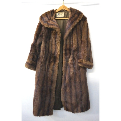 281 - LADYS MUSQUASH COAT with a shawl collar, inside pocket and two outer pockets, bearing a trade label ...