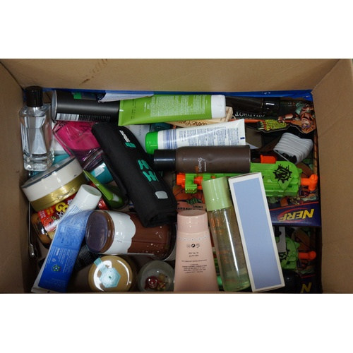 5 - ONE BOX OF MISCELLANEOUS ITEMS including: Nerf; Niomi Smart hand cream; screw driver; Hermes; Marc J...
