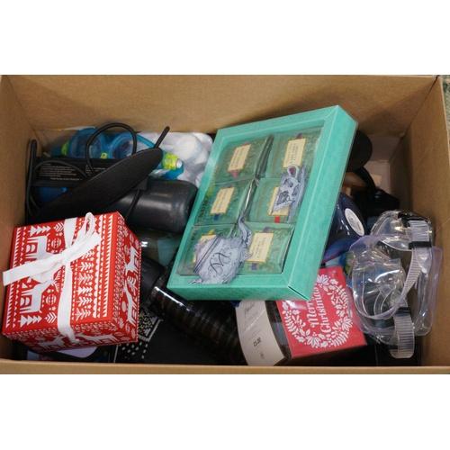 14 - ONE BOX OF MISCELLANEOUS ITEMS including: snow globe; Fortnum & Mason tea; Bottles; goggles; etc....