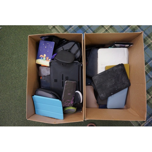 19 - TWO BOXES OF PROTECTIVE CASES including: phone; headphone; tablets; etc...