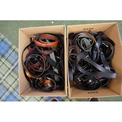 21 - TWO BOXES OF LADIES AND GENTS BELTS...