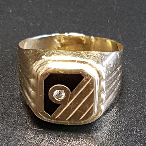 8 - FOURTEEN CARAT GOLD SIGNET RING decorated with CZ and black enamel, ring size R-S and approximately ...