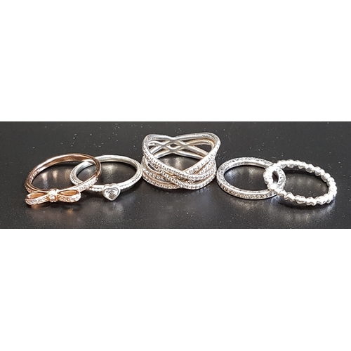 19 - FIVE PANDORA RINGS comprising four silver examples - Cosmic Lines, Delicate Heart, Hearts of Pandora...