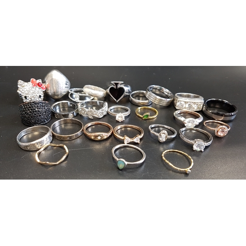 47 - SELECTION OF SILVER AND OTHER RINGS including stone set examples, 1 box...