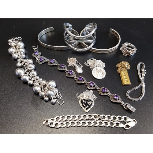 21 - SELECTION OF SILVER JEWELLERY comprising a triple wavy band bangle, two further bangles, a multi bal...