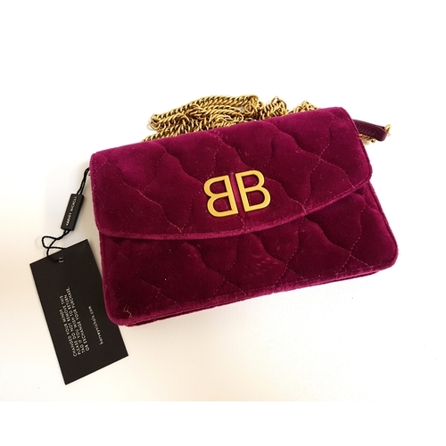 282 - NEW AND UNUSED BALENCIAGA QUILTED VELVET HANDBAG in cerise colour, with removable chain link strap, ...