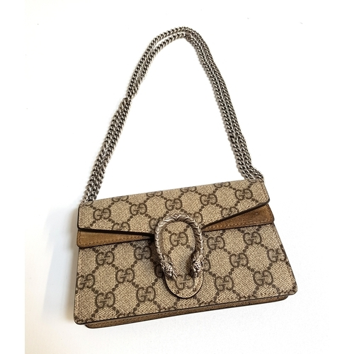 283 - GUCCI DIONYSUS GG SUPER MINI BAG in Beige GG Supreme canvas with textured tiger head closure, with r...