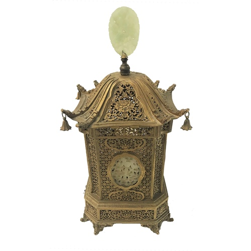 191 - CHINESE QIANLONG PERIOD GILT BRONZE SQUARE LANTERN with a domed lift up lid with a pierced jade fini...