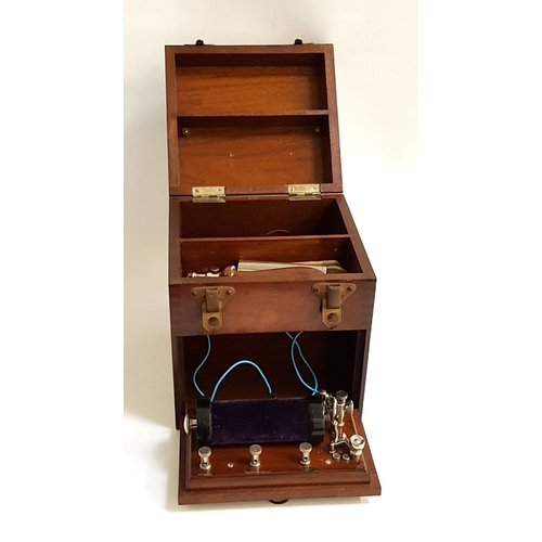 204 - LATE VICTORIAN ELECTRIC THERAPY SHOCK MACHINE with induction coil and two metal tubes, contained in ...