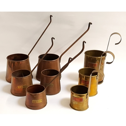 205 - SET OF FIVE GRADUATED COPPER CIDER MEASURES all with brass plaques engraved 'CIDER' and with hanging...