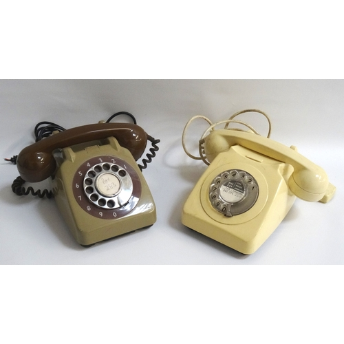 206 - TWO RETRO VINTAGE TELEPHONES one a two tone example in green and brown with outer number ring, type ...