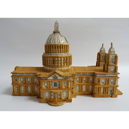 213 - MATCHSTICK MODEL OF ST. PAUL'S CATHEDRAL 26cm long...