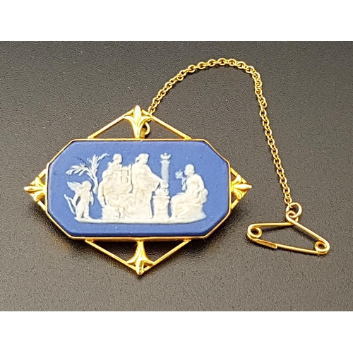 46 - EDWARDIAN WEDGWOOD JASPERWARE BROOCH the octagonal panel with classical scene, in pierced nine carat...