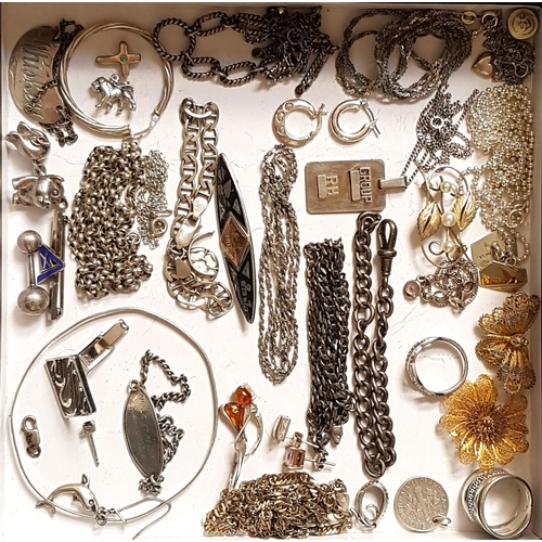 48 - SELECTION OF SILVER JEWELLERY including a niello style brooch with gold detail, a filgree butterfly ...