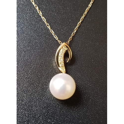 68 - PEARL AND DIAMOND PENDANT in nine carat gold and on nine carat gold chain...