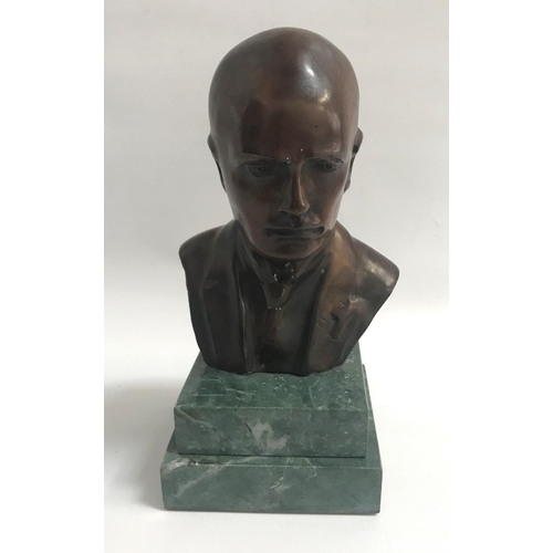 221 - GIORGIO ROSSI bronze bust of Mussolini, signed to the back, on a stepped green marble base, 23.5cm h...