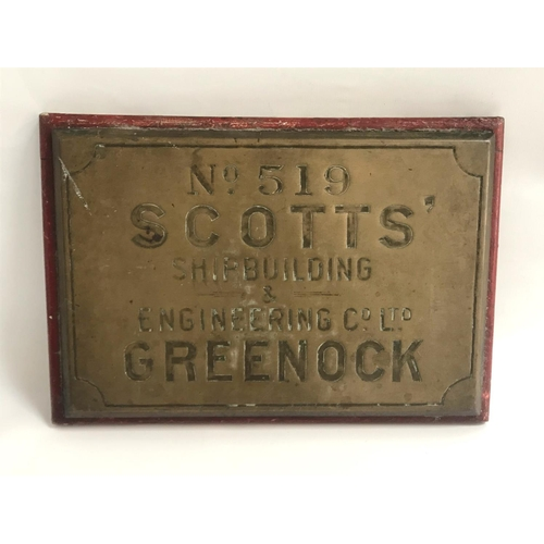 267 - VINTAGE SCOTTISH SHIPBUILDER'S BRASS PLAQUE marked 'No. 519 Scotts' Shipbuilding and Engineering Co....