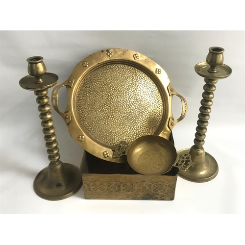 269 - GOOD SELECTION OF BRASSWARE comprising a square Arts and Crafts planter with embossed motif decorati...