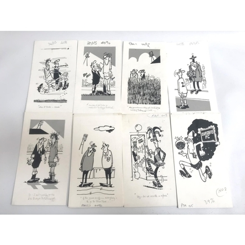 226 - ROD MCLEOD (Scottish cartoonist) eleven humorous ink drawings, late 1970/early 1980s, football relat...