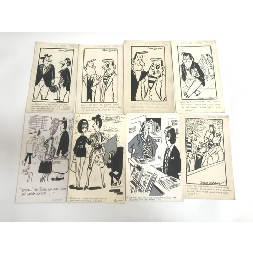 232 - JACK LINDSAY (Glasgow Noon Record) nine original pen and ink cartoons, various subjects including tr...