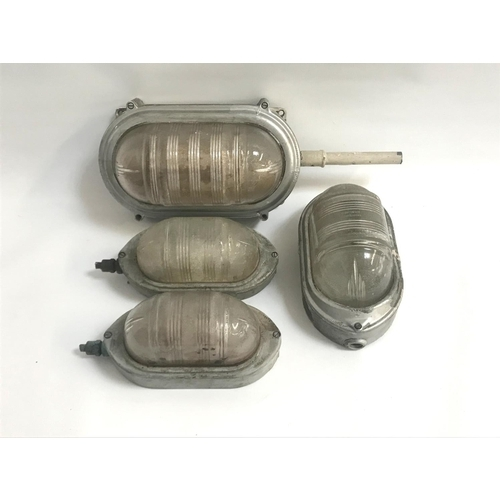 271 - FOUR WALL MOUNTED BULKHEAD LIGHTS BY COUGHTRIE GLASGOW circa 1950s, comprising one larger example at...
