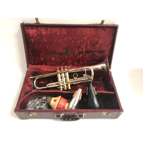 286 - VINTAGE OLDS RECORDING BRASS TRUMPET the bell engraved 'Olds Recording Made By F.E. Olds and Son, Fu...