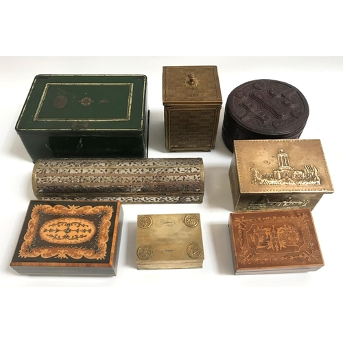 233 - SELECTION OF EIGHT BOXES including brass and metal bound, inlaid wood and leather examples, various ...