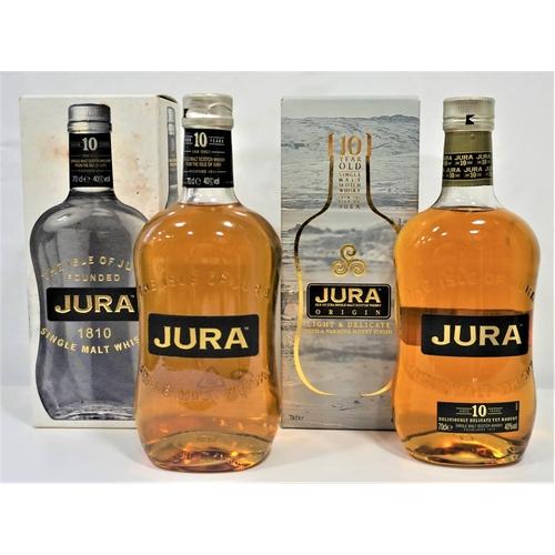 33 - TWO BOTTLES ISLE OF JURA 10YO A pair of bottles of Isle of Jura 10 Year Old Single Malt Scotch Whisk...
