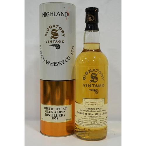 71 - GLEN ALBYN 1978 - SIGNATORY A rare bottle of single malt from another silent distillery.  Glen Albyn...