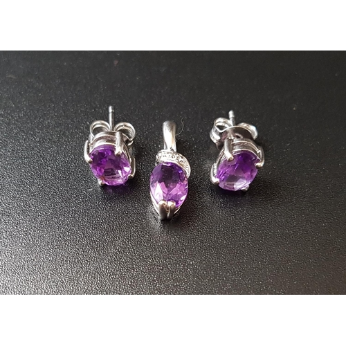 1 - MATCHED SUITE OF AMETHYST JEWELLERY  comprising a pair of oval cut amethyst stud earrings, the ameth...