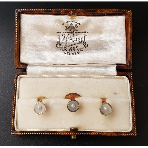 4 - BOXED SET OF MOTHER AND PEARL AND SEED PEARL DECORATED STUDS the three studs in nine and eighteen ca...