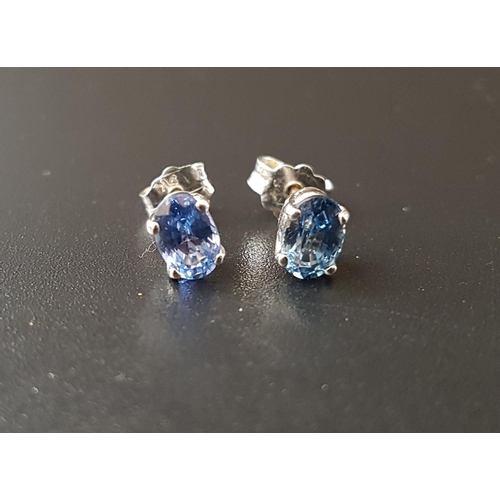 11 - PAIR OF SAPPHIRE STUD EARRINGS the oval cut sapphire on each approximately 0.5cts, in unmarked white...