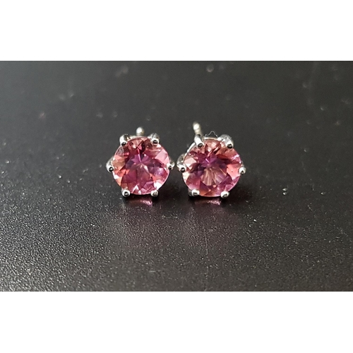 22 - PAIR OF PINK TOURMALINE STUD EARRINGS the round brilliant cut tourmaline on each approximately 1ct, ...
