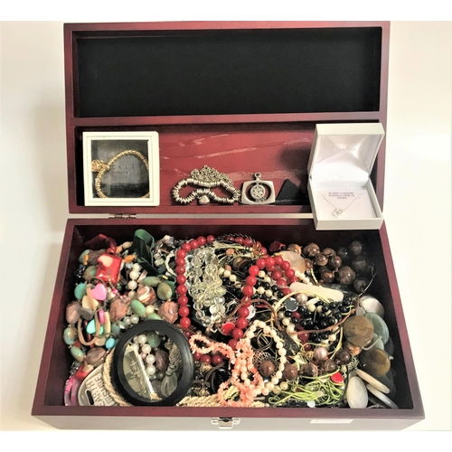 23 - LARGE SELECTION OF COSTUME JEWELLERY including a pearl bracelet, a CZ set platinum plated pendant on...