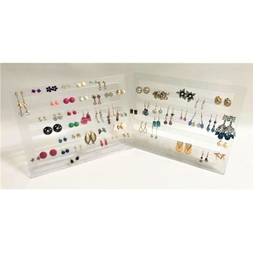 25 - FIFTY-NINE PAIRS OF COSTUME JEWELLERY EARRINGS of various designs and sizes, studs and drops, includ...