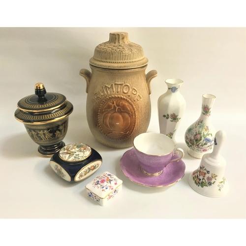 26 - MIXED LOT OF CERAMICS including a pottery West German Rumtopf jar, two Aynsley Wild Tudor vases, Ayn...