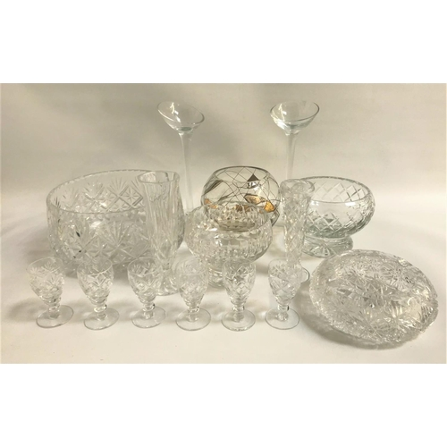 27 - MIXED LOT OF GLASSWARE including six liquor glasses, two spill vases, large cut glass ashtray, two t...